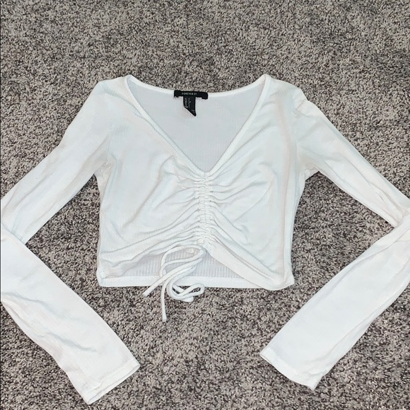 Cropped white long sleeve